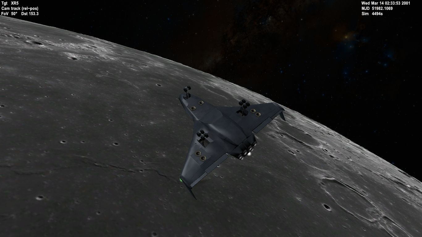 Orbiter 2016 simulation of XR2 orbiting the Moon